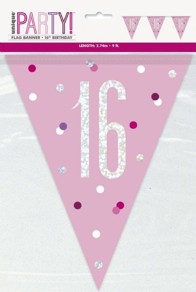 Glitz Pink Age 16 Pennant Banner